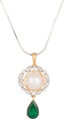 Wite&Gold Bourgeois 18K Yellow Gold Diamond, Pearl, Emerald Yellow Gold Pendant
