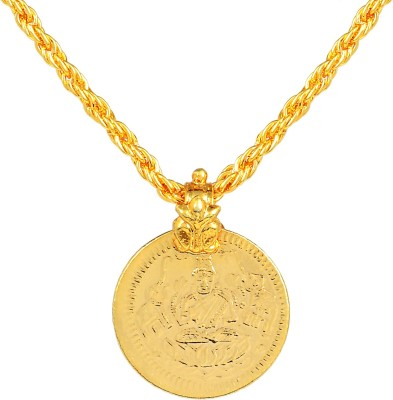 Memoir Memoir Gold plated Laxmi coin reversible both side wearable light weight (7.5gm) real gold look chain pendant necklace temple jewellery for Men and Women 24K Yellow Gold Brass Pendant  available at flipkart for Rs.399