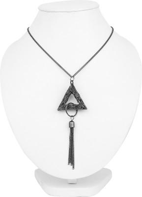 Johareez Black Rhodium Plated Triangle Shape Tassel Pendant Alloy Pendant