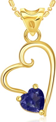 VK Jewels Blue Stone in Heart Valentine Gold-plated Cubic Zirconia Alloy Pendant