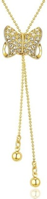High Trendz Fashion Jewellery Stylish Party Wear Long Chain Pendant Necklace 18K Yellow Gold Crystal Alloy Pendant Set