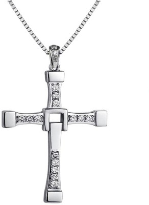 ITS The Silver Plated Finish Crystal Cross Men Necklaces Silver Crystal Alloy Pendant