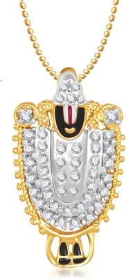 Meenaz Krishna Ganpati God With Chain Cz Gifts Jewellery Sets Brass, Yellow Gold Diamond Alloy Pendant