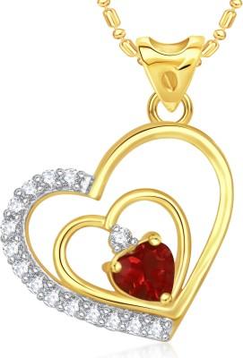 VK Jewels Interlocked Heart Valentine Gold-plated Cubic Zirconia Alloy Pendant