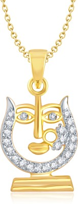 Meenaz Ganesha Ganpati Yellow Gold God With Chain Cz Gifts Jewellary Set Gold-plated, Brass Cubic Zirconia, Diamond Alloy Pendant