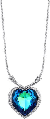 Swarovski Elements Blue Crystal Rhinestone Titanic Ocean Heart For Women Platinum Swarovski Crystal Metal Pendant at flipkart