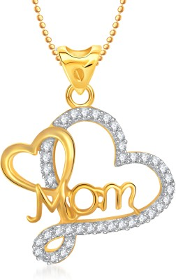 VK Jewels Two Tone Heart Shape Gold-plated Cubic Zirconia Alloy Pendant