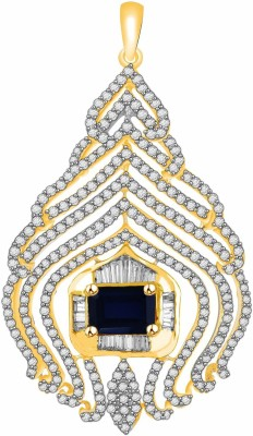 Vijisan 4.26 Ct.Blue stone Designer Gold-plated Cubic Zirconia, Sapphire Sterling Silver Pendant