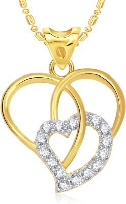 VK Jewels Filigree Heart Valentine 18K Yellow Gold Cubic Zirconia Alloy Pendant
