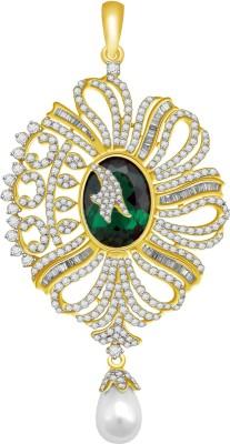 Vijisan 20.61 Ct.Beautiful Cocktail Designer 18K Yellow Gold Cubic Zirconia, Emerald Sterling Silver Pendant at flipkart