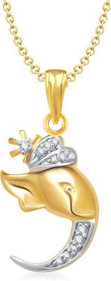 Meenaz Ganesha Yellow Gold God With Chain Cz Gifts Jewellery Sets Brass Cubic Zirconia, Diamond Alloy Pendant