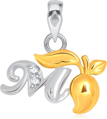 VK Jewels Initial Letter M 18K Yellow Gold Cubic Zirconia Alloy Pendant