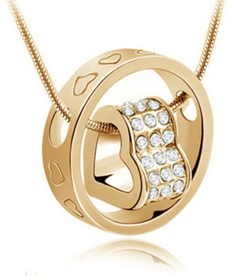 Atasi International Ring Heart 18K Yellow Gold Crystal Alloy Pendant