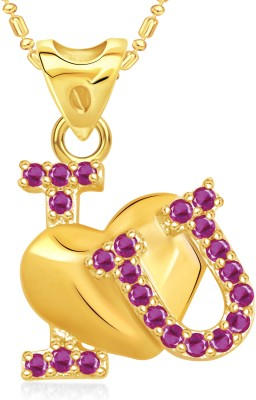 VK Jewels I Love U Heart Valentine Gold-plated Cubic Zirconia Alloy Pendant