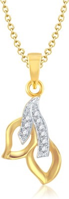 VK Jewels Two Leaf Gold and Rhodium Plated Gold-plated Alloy Pendant