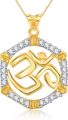 Vidhi Jewels Om Gold 18K Yellow Gold Cubic Zirconia Alloy, Brass Pendant
