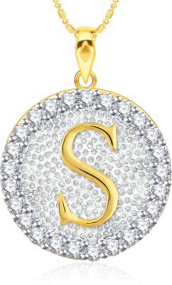 VK Jewels Initial Letter S Gold-plated Cubic Zirconia Alloy Pendant