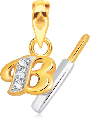 VK Jewels Initial Letter I 18K Yellow Gold Cubic Zirconia Alloy Pendant