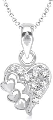 VK Jewels Three Heart Shape Rhodium Cubic Zirconia Alloy Pendant