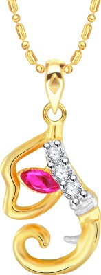 VK Jewels Initial Letter I Ganesh 18K Yellow Gold Cubic Zirconia Alloy Pendant