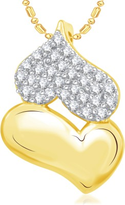 VK Jewels Double Heart Valentine Gold-plated Cubic Zirconia Alloy Pendant