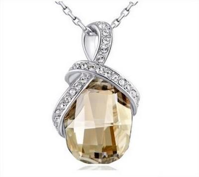 Nevi Trendy Gold Star Rhodium Swarovski Crystal Alloy, Crystal, Brass Pendant