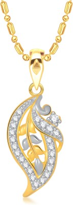 VK Jewels Filigree Leaf Gold-plated Cubic Zirconia Alloy Pendant