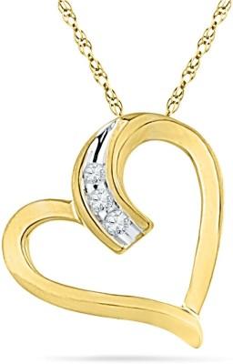JPearls Valentines Special Diamond Yellow Gold Pendant