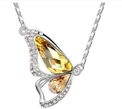 Girlz! Imported Austrian Swarovski Element Like Crystal- Platinium Plated Butterfly Pendant Crystal Alloy Pendant