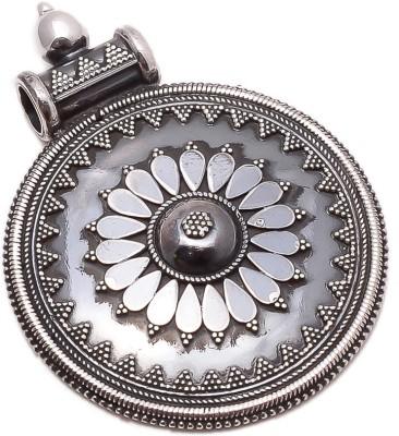 Jewels India Rawa Work Silver Flower Pendant Made of Sterling Silver
