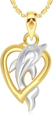VK Jewels Dolphin 18K Yellow Gold Cubic Zirconia Alloy Pendant