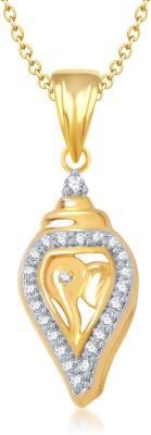 Meenaz Ganpati God Pendant With Chain Gifts Jewellery Set Brass Cubic Zirconia, Diamond Alloy Pendant