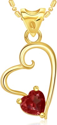 VK Jewels Beautiful Red Stone Heart Valentine Gold-plated Cubic Zirconia Alloy Pendant