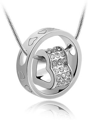 Atasi International Ring Heart Rhodium Crystal Alloy Pendant at flipkart