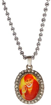 Men Style Silver Plated And Crystal Blessed Shirdi Sai Baba Alloy Pendant Set
