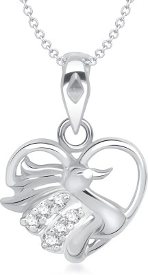 VK Jewels Mayur in Heart Shape Rhodium Cubic Zirconia Alloy Pendant