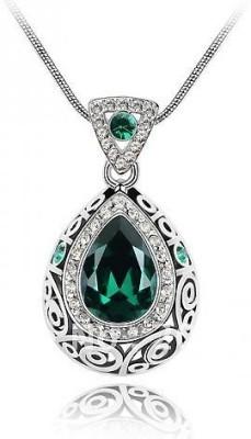 Silver Shoppee Valentine Special Rhodium Crystal, Cubic Zirconia Alloy Pendant