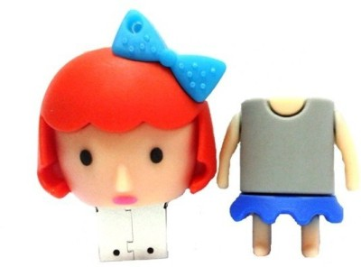 Microware Cute Girl 32 GB Pen Drive(Grey)