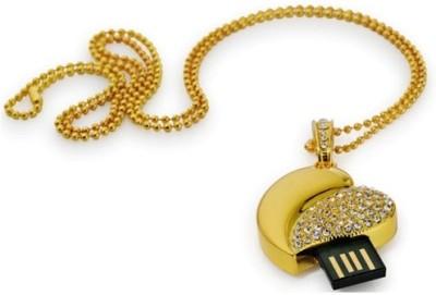 Microware Heart Shape 16  GB Pen Drive Gold
