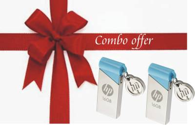 HP V215B COMBO OF 2 PCS 16 GB  Pen Drive (Silver)