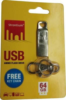 Strontium USB Ammo 64 GB  Pen Drive (Silver)