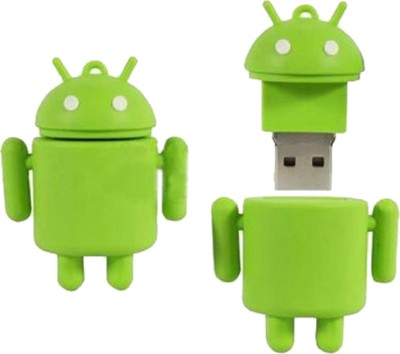 Microware Android Shape Fancy 16  GB Pen Drive Green microware Pen Drives