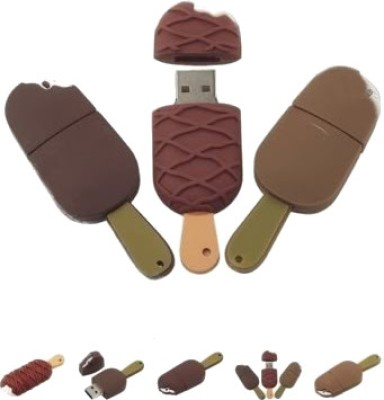 Microware Chocolate Ice Cream Shape 16  GB Pen Drive Brown