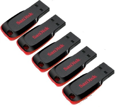 SanDisk Sandisk 16gb Cruzer Blade Pen Drive Pack Of 5 16 GB Pen Drive(Multicolor)