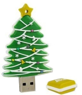 Microware Christmas Tree Shape 4 GB Pen Drive(Green)