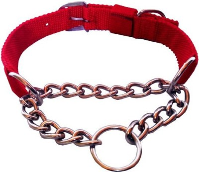 Petshop7 Red Nylon 1.25 Inch Dog Choke Chain Collar(Medium, Red)  available at flipkart for Rs.240