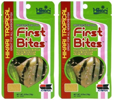 Hikari Tropical First Bites (10g/0.35oz Each Pack of 2 Pcs) | Great For All (NEWBORN FISH) | Superior Nutritional Balance | Promotes Rapid Growth | Semi-Buoyant Granule | NA Fish Food(20 g, Pack of 2)