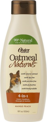 Oster Allergy Relief, Anti-dandruff, Anti-fungal, Anti-itching, Anti-microbial, Anti-parasitic, Conditioning, Flea and Tick, Hypoallergenic, Whitening and Color Enhancing Mango Peach Dog Shampoo(532 ml)