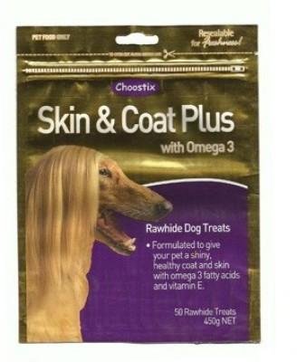Choostix Skin & Coat Plus With Omega 3 Chicken Dog Treat(450 g, Pack of 1)