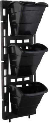 Planters Vertical Garden Panel ( Black 6X18 inches , 1 frame + 3 pot ) Plant Container Set(Pack of 4, Plastic) at flipkart